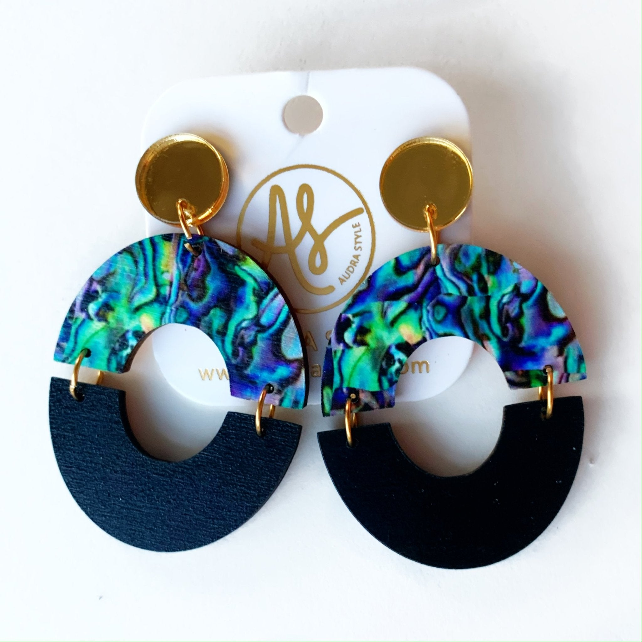Amanda Earrings in Gold Abalone