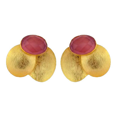 Gold Plated Petal Earring in Pink Agate