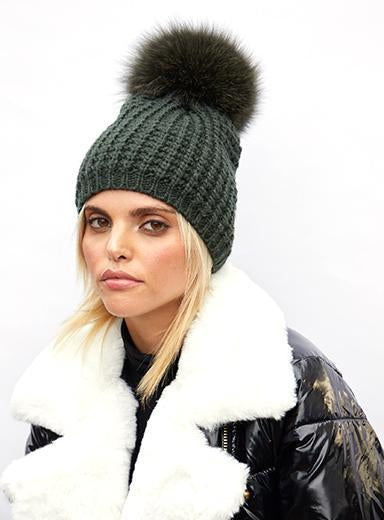 Classic Faux Fur Pom Beanie in Olive