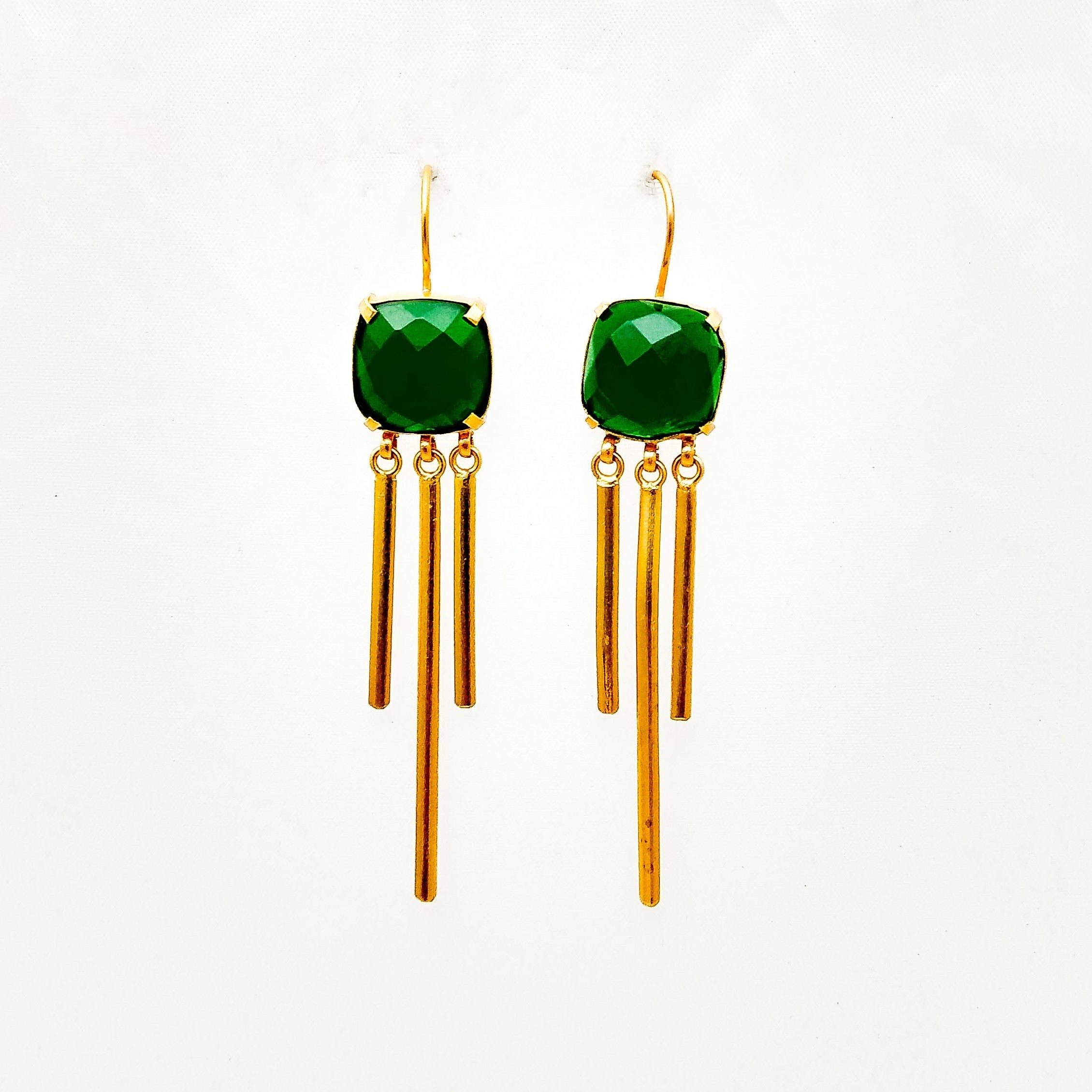 Gold Plated Square Drop Earring in Green Quartz