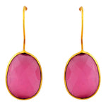 Load image into Gallery viewer, Single Gemstone Drop Earring in Pink Agate