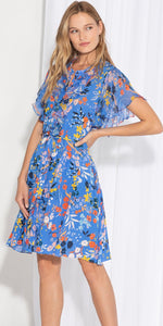 Load image into Gallery viewer, Rylee Floral Print Dress in Light Cobalt Multi