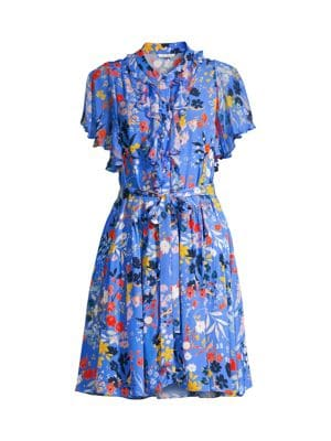 Rylee Floral Print Dress in Light Cobalt Multi