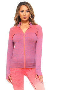 Seamless Marled Jacket in Coral