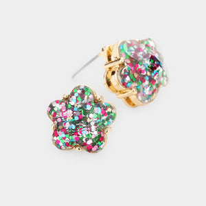 Glitter Flower Stud Earrings in Multi