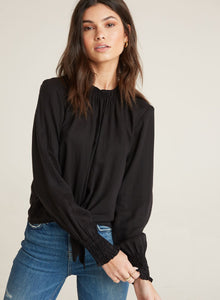 Smocked Tie Front Top in Black
