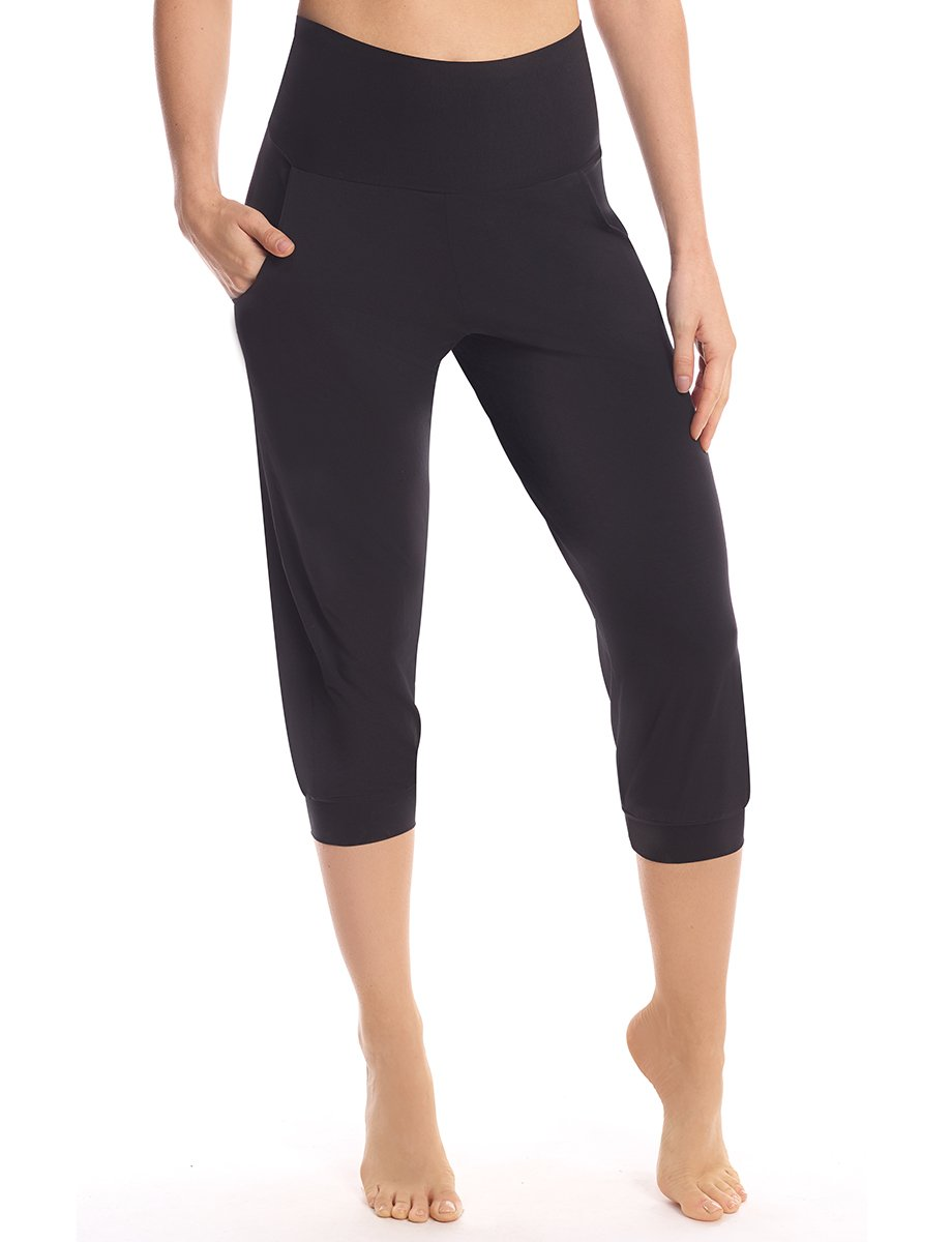 Butter High Rise Capri Jogger in Black