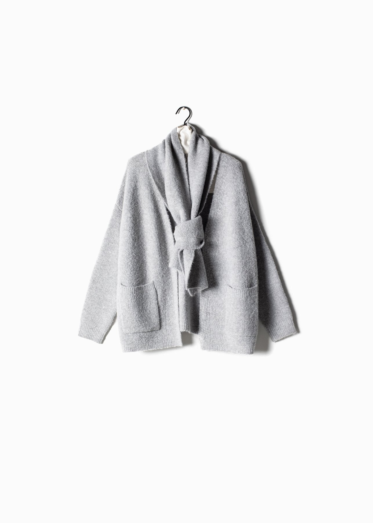 Ribbed Collar Cardigan With Scarf in Grey