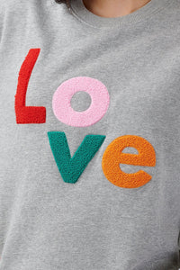 Noah Colorful Love Sweatshirt in Grey Marl