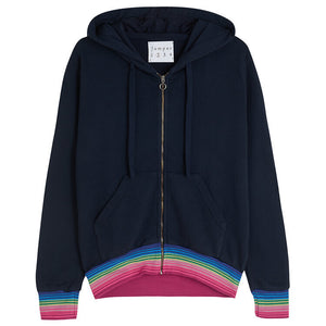 Rainbow Waves Zip Hoodie in Navy