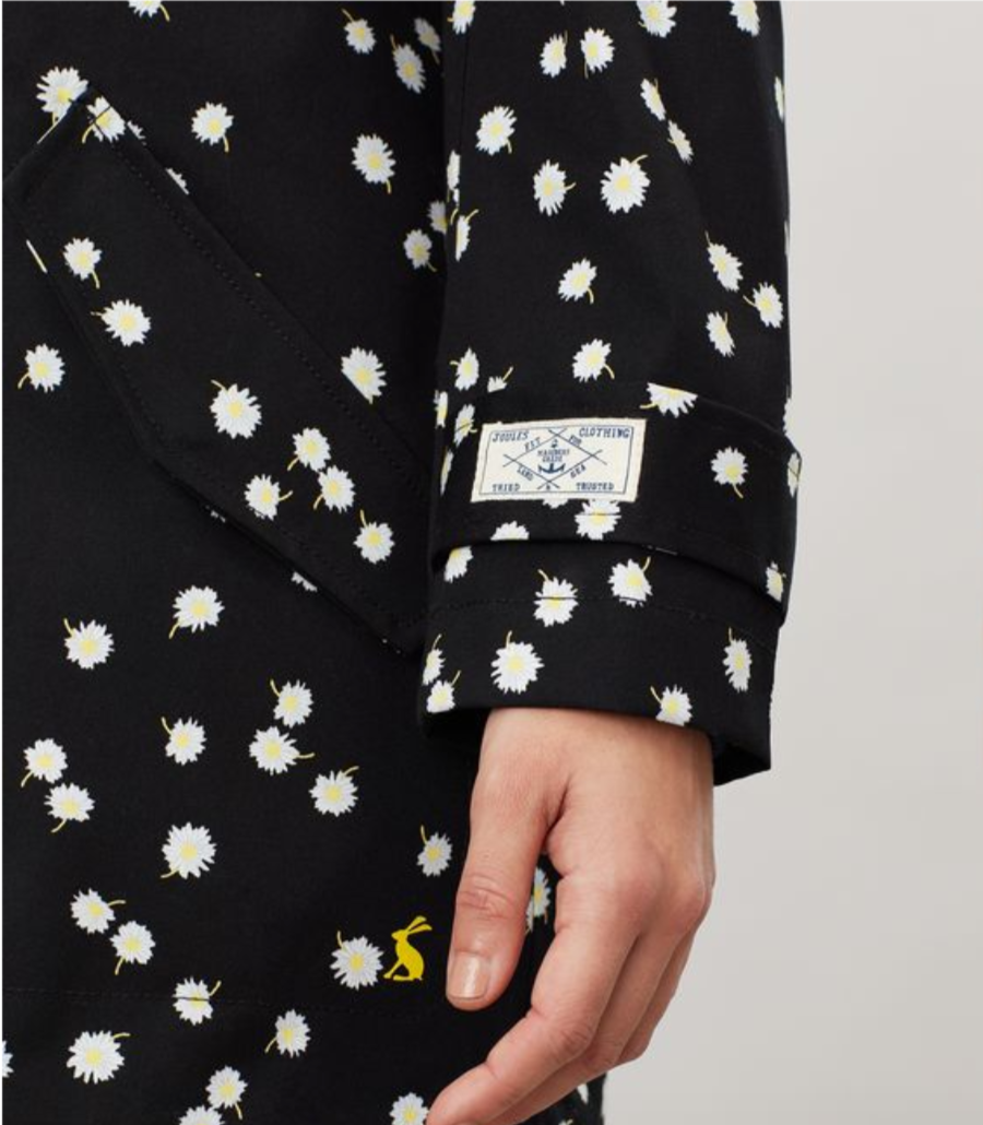 Coast Mid Print Rain Jacket in Black Daisy