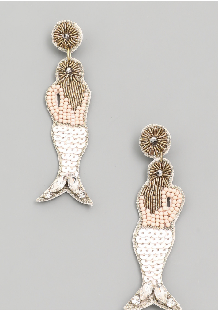 Beaded Mermaid Earring in White