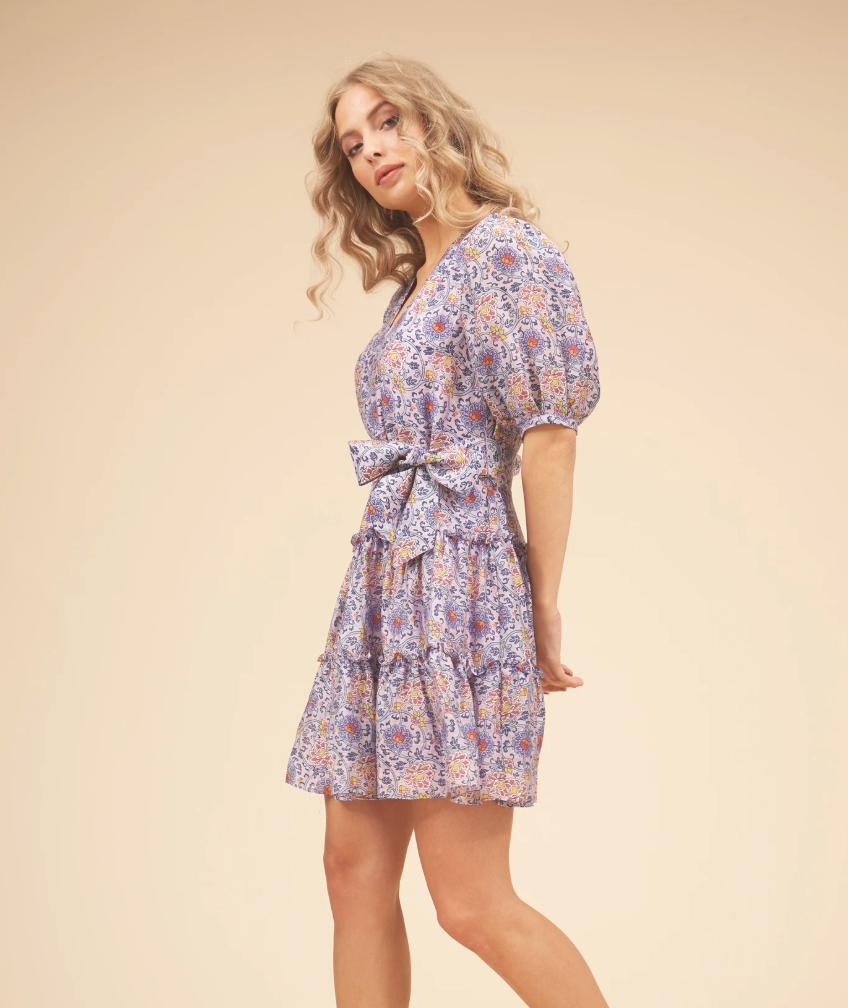 Felicitous Boho Mini Dress In Purple