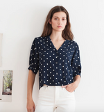 Load image into Gallery viewer, Kaden Polka Dot Blouse in Navy/White