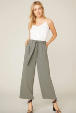 Load image into Gallery viewer, High Waist Wide Leg Pant in Surplus Green