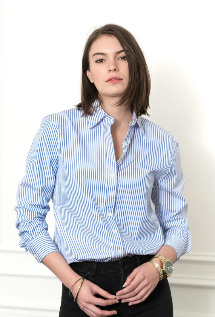Rochelle Behrens The Boyfriend Shirt in Blue White Stripe