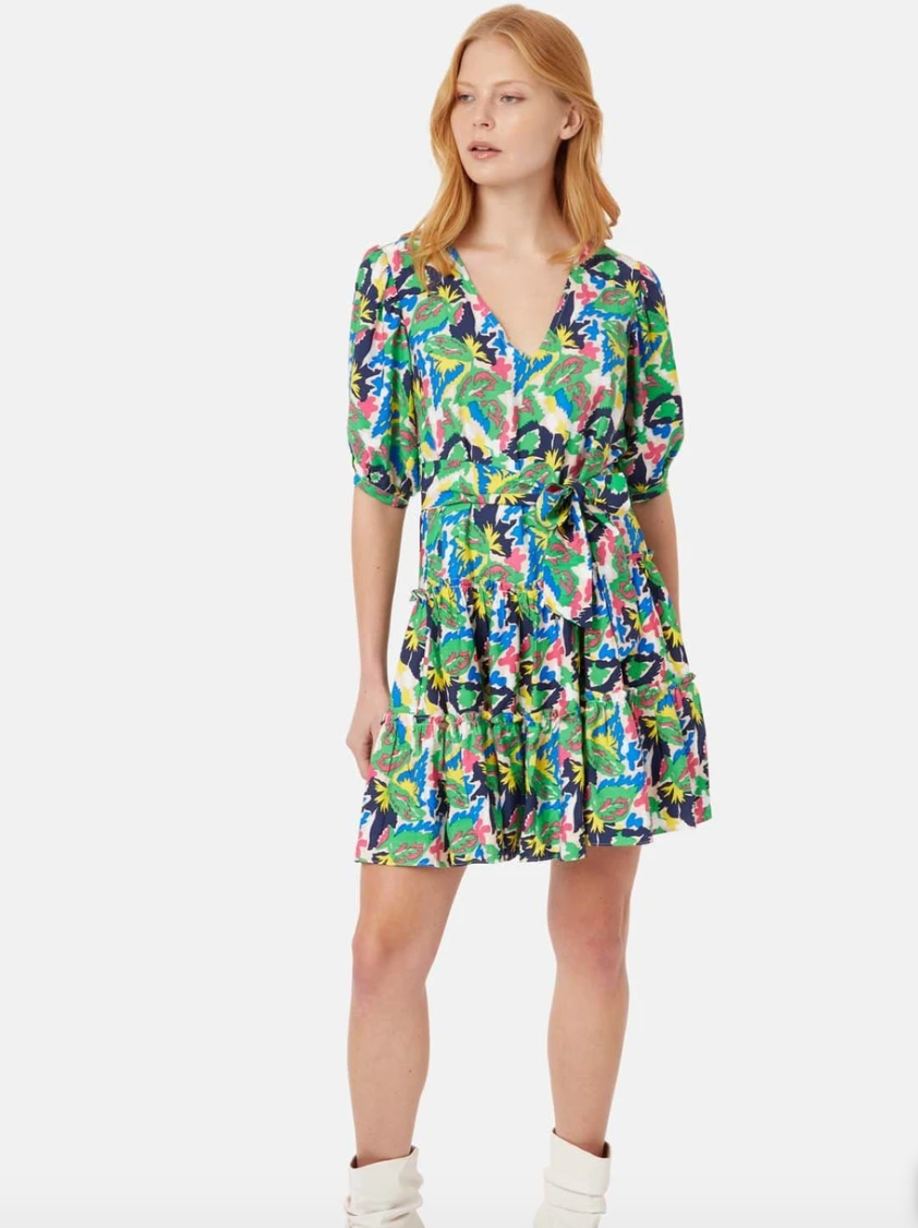 Felicitous Boho Mini Dress In Bold Multi