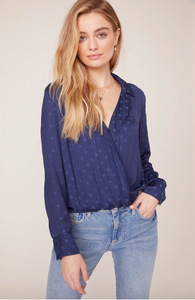 Spotted Long Sleeve Cross Over Blouse