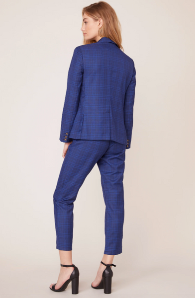 Fitted Glen Plaid Blazer in Navy