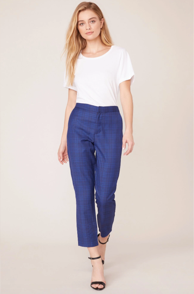 Cropped Trouser Pant in Navy Glen Plaid