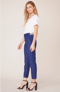 Work It Out Cropped Trouser Pant in Navy Glen Plaid