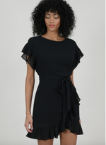 Load image into Gallery viewer, Chiffon Ruffle Flounce Dress in Black