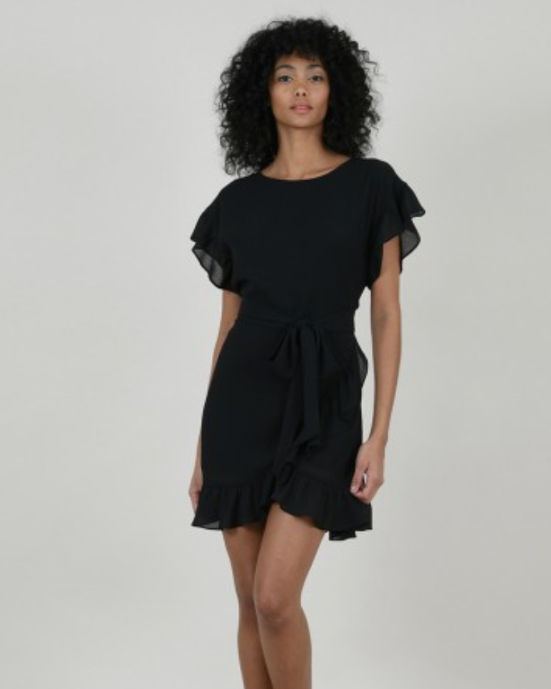 Chiffon Ruffle Flounce Dress in Black