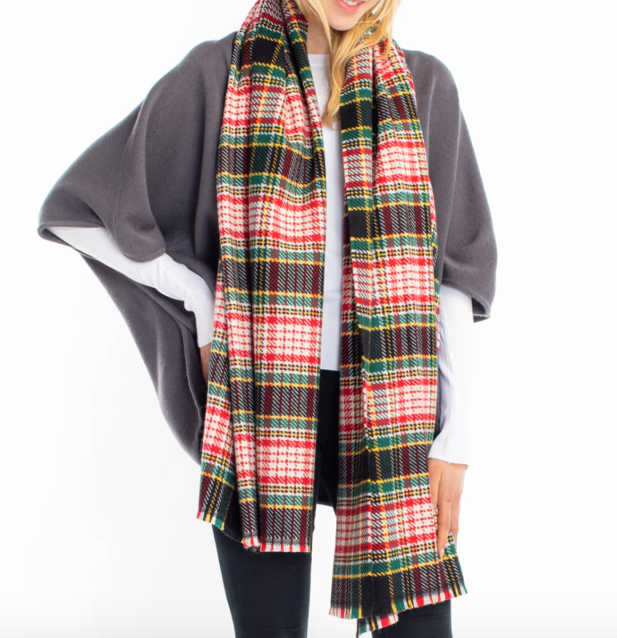 Vivid Plaid Scarf in Black