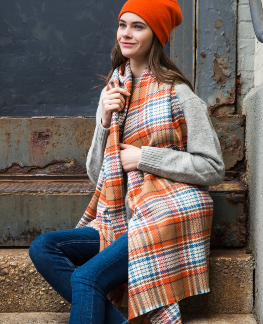 Vivid Plaid Scarf in Camel