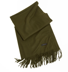 Soft Basic Cashmere Blend Scarf in Olive
