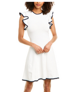 Load image into Gallery viewer, Saya Dress in White/Navy