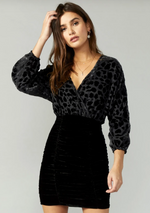 Load image into Gallery viewer, Hallie Burnout Velvet Dress in Black