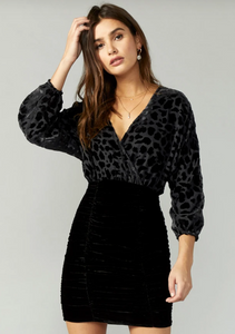 Hallie Burnout Velvet Dress in Black