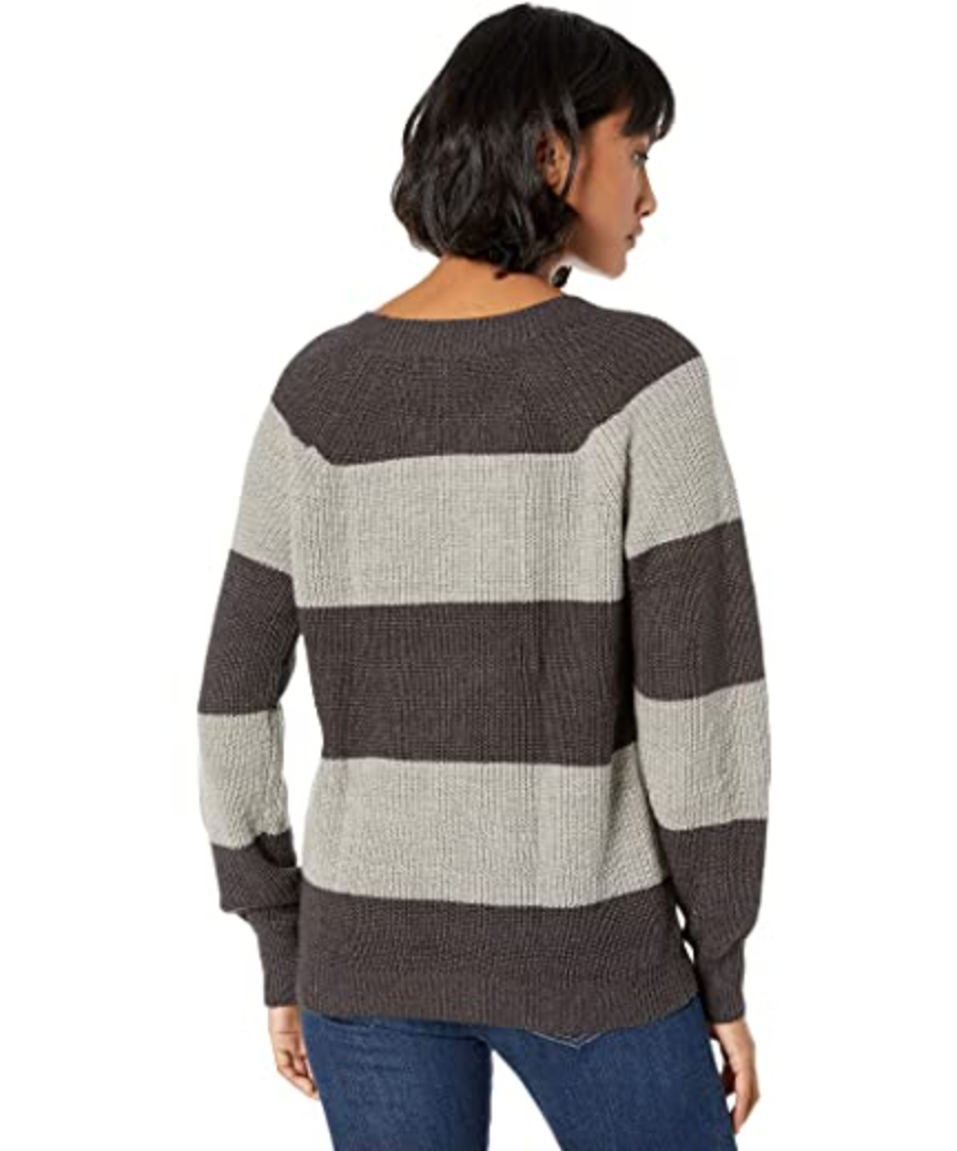 Striped Crew Neck Sweater in Heather Grey Combo