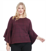 Load image into Gallery viewer, Stella Drama Sleeve Top in Power Plaid