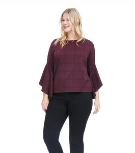 Stella Drama Sleeve Top in Power Plaid
