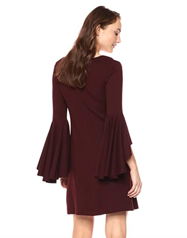 Avalanche Bell Sleeve Dress in Port