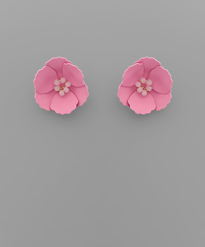 Small Flower Stud with Beaded Center in Pink
