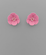Load image into Gallery viewer, Small Flower Stud with Beaded Center in Pink