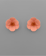 Load image into Gallery viewer, Small Flower Stud with Beaded Center in Peach
