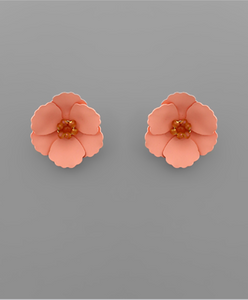 Small Flower Stud with Beaded Center in Peach