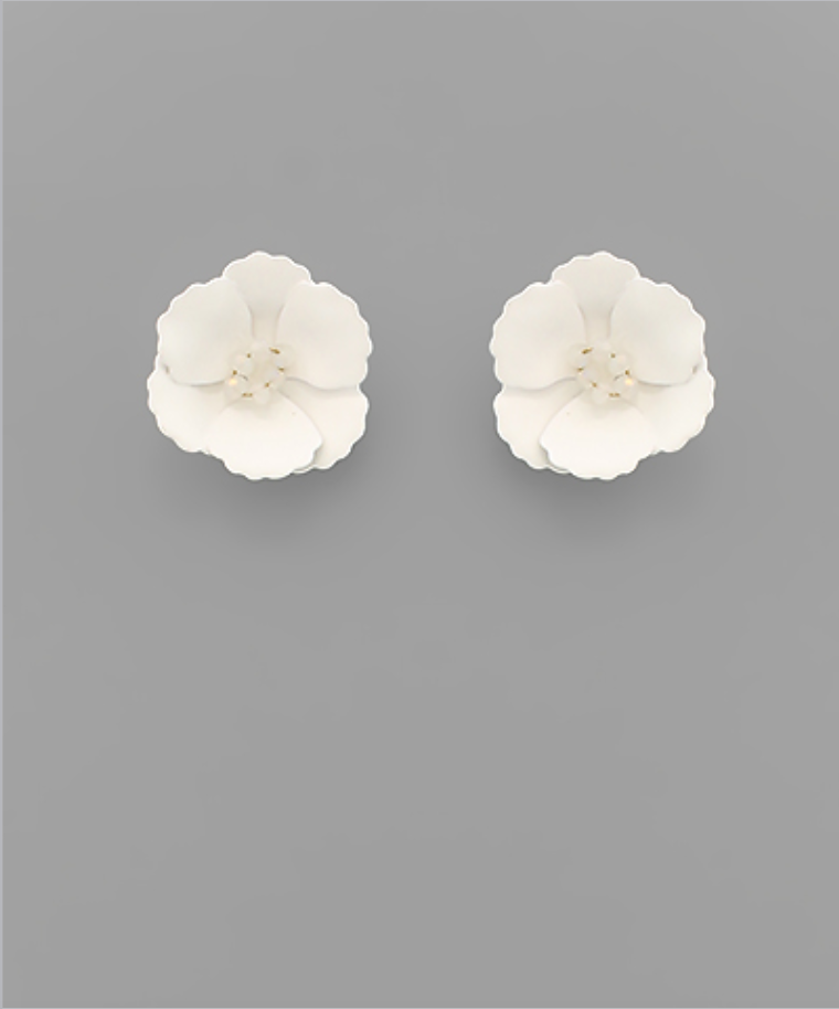Small Flower Stud with Beaded Center in White
