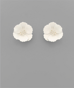 Load image into Gallery viewer, Small Flower Stud with Beaded Center in White