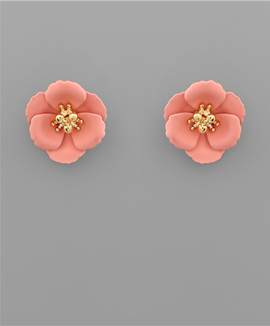 Small Flower Stud with Gold Center in Pink