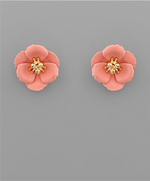 Load image into Gallery viewer, Small Flower Stud with Gold Center in Pink