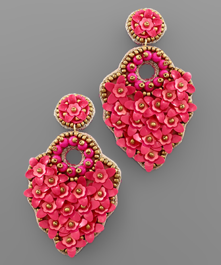 Flower Circle Bead Earrings in Fuchsia