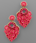 Load image into Gallery viewer, Flower Circle Bead Earrings in Fuchsia