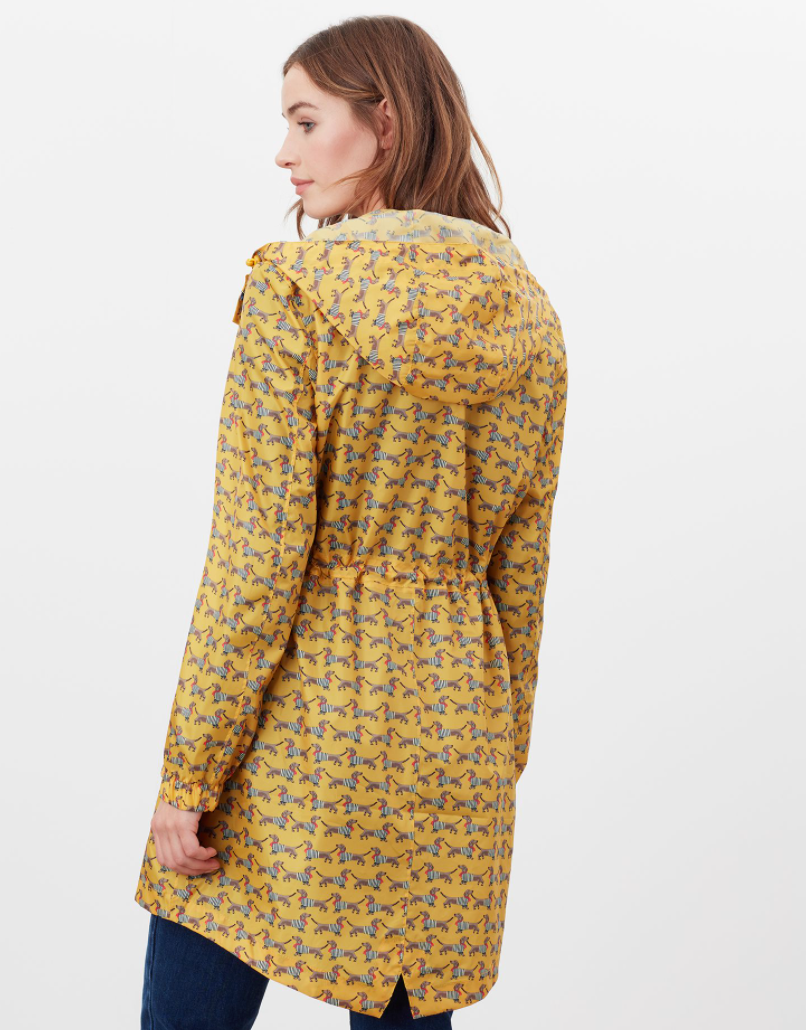 Golightly Printed Rain Jacket in Yellow Sausage Dog