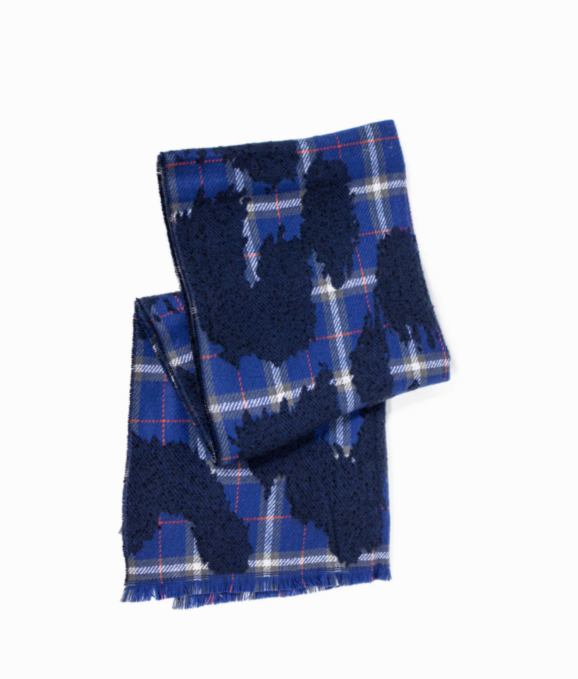 Point Boucle Plaid Scarf in Blue