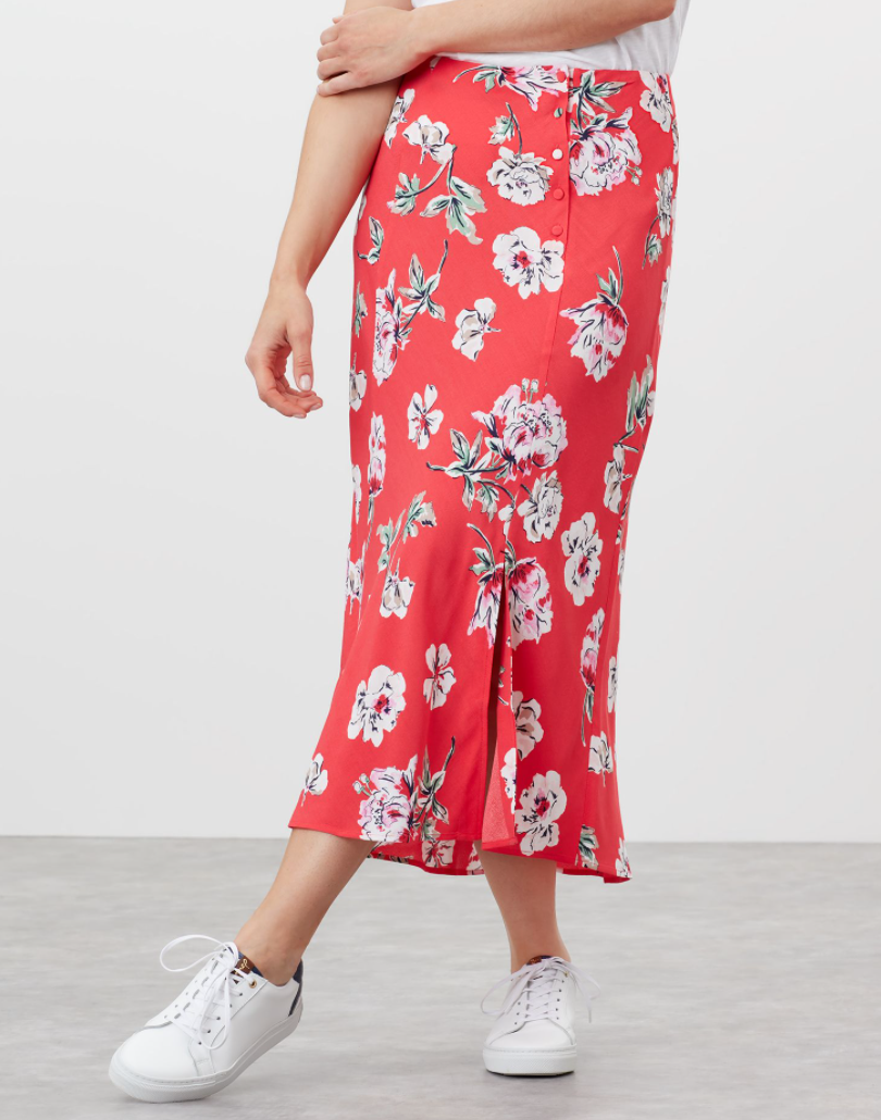 Carlene Bias Cut Skirt in Red Floral